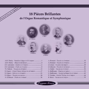 Orgue Symphonique - 18 Pièce Billantes