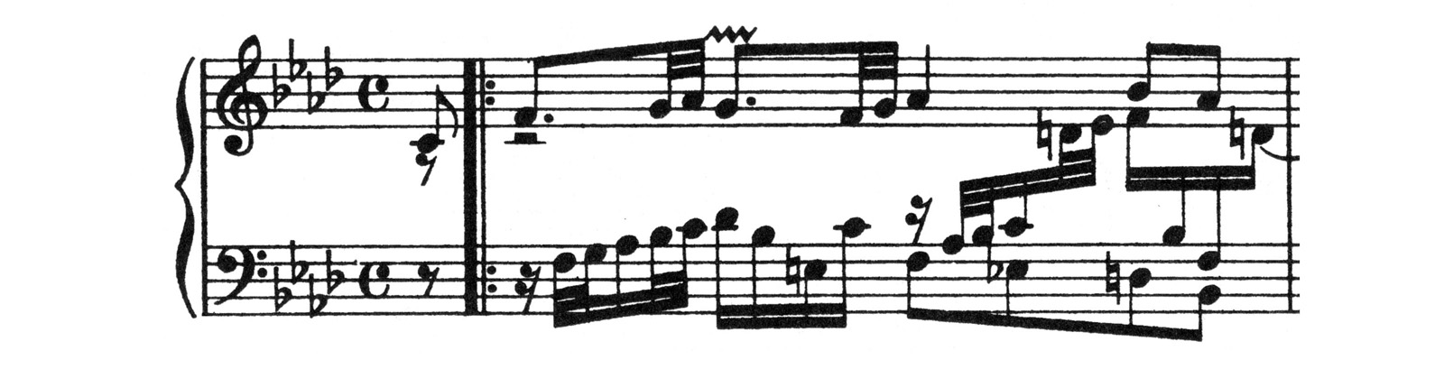 Example of traditional edition (Bach BWV 658) - Lines and beams are thick, beam space and thickness are unbalanced