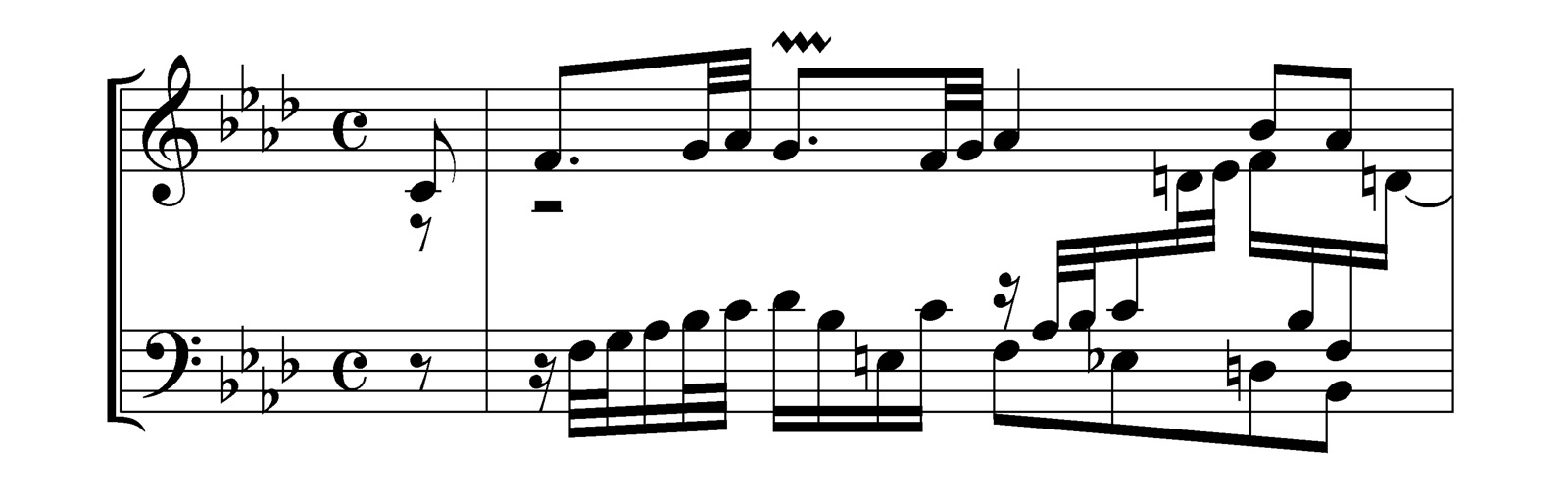 Example of modern engraving using Finale and Maestro (Bach BWV 658) - Noteheads have a generous size, accidentals are well defined, beams are balanced and do not cross staff lines.