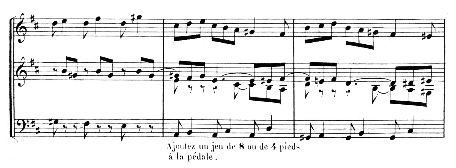 César Franck old edition compared with modern engraving : beams are a bit to thick, accidentals are not clear enough due to bad resolution (César Franck : Prélude, Fugue et Variation)